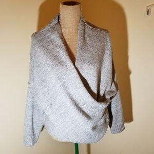 Joeoy grey cross wrap knit sweater size large